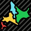 hokkaido, island, japan, map, travel icon