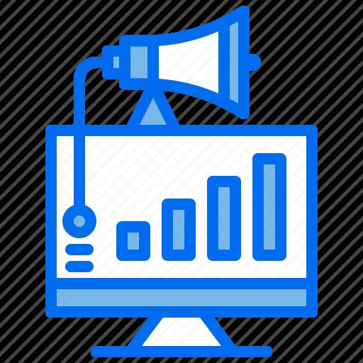advertising, chart, computer, graph, marketing, megaphone icon