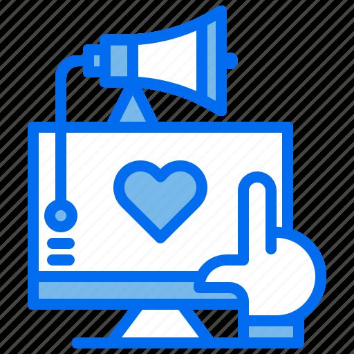 advertising, computer, love, marketing, megaphone, select icon