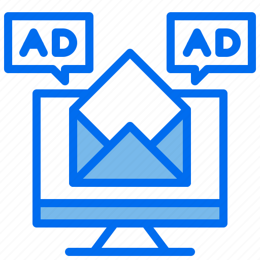 ad, advertising, computer, mail, marketing icon