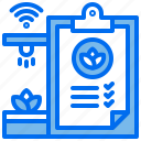 agriculture, clipboard, document, plant, sprinkling, wifi icon