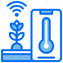 agriculture, internet, phone, plant, temperature, wifi icon