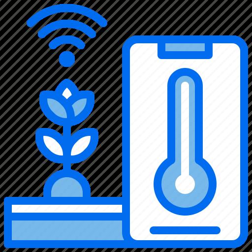 agriculture, internet, phone, plant, temperature, wifi icon