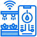 control, phone, plant, shoots, sprinkling, water, wifi icon