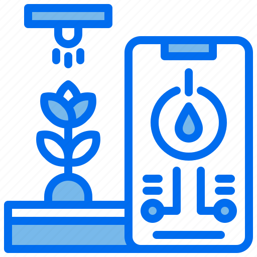 agriculture, control, phone, plant, soil, sprinkling, water icon