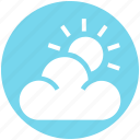 cloud, cloudy, holiday, sky, summer, sun, weather icon
