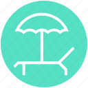 beach, holiday, sea, summer, sunbath, sunbathing, sunbed icon
