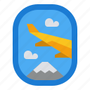 airplane, holiday, transportation, travel, window icon