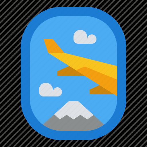 airplane, holiday, transportation, travel, window icon
