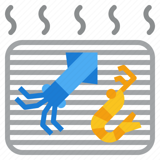 bbq, grill, party, shrimp, squid icon