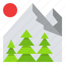 forest, landscape, mountain, nature, travel icon