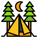 adventure, camp, forest, tent, travel icon