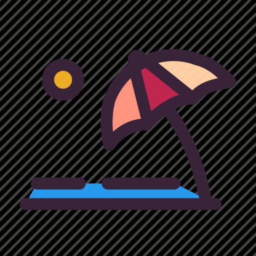 beach, cloud, summer, sun, umbrella, weather icon