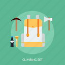 climbing, holiday, recreations, set icon