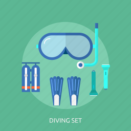 diving, holiday, recreations, set icon