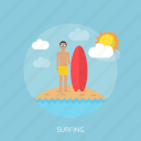 beach, fun, holiday, ocean, recreations, surfer, surfing icon