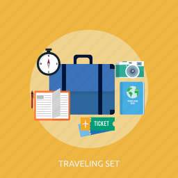 holiday, recreations, set, traveling icon