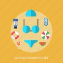 holiday, recreations, set, swimming, woman icon