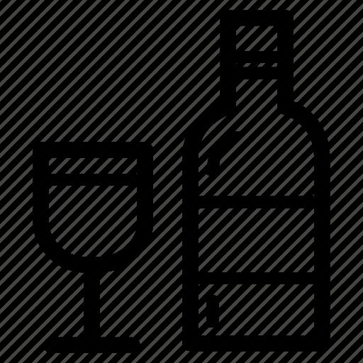 beverage, bottle, liquor, red, white, wine icon