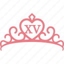 crown, pink, princess, quinceanera, quinceañera, tiara