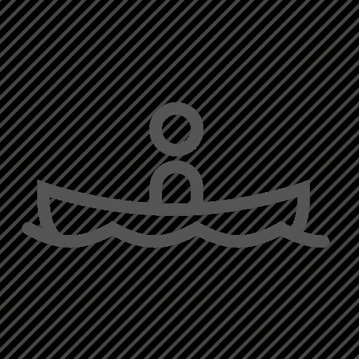 boat, guy, man, sea, swimming, trip, water icon