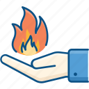 burning, combustion, fire, fire icon, hand, human, magic, spontaneous icon