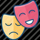 comedy, drama, entertainment, genre, happy, mask, sad, theater icon icon