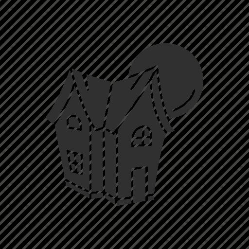 halloween, haunted house, house, moon icon