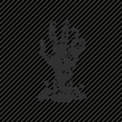 buried alive, grave walker, halloween, hand, zombie icon