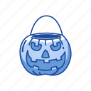 basket pumpkin, carved pumpkin, halloween, trick or treat icon