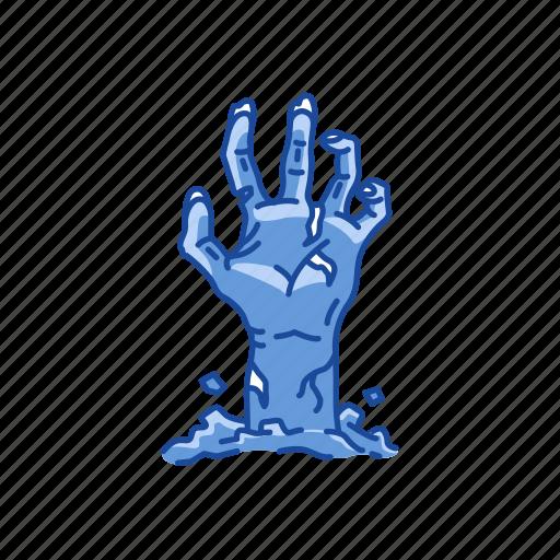 buried alive, halloween, hand, zombie icon