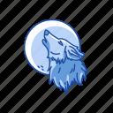 full moon, midnight, werewolf, wolf, halloween icon