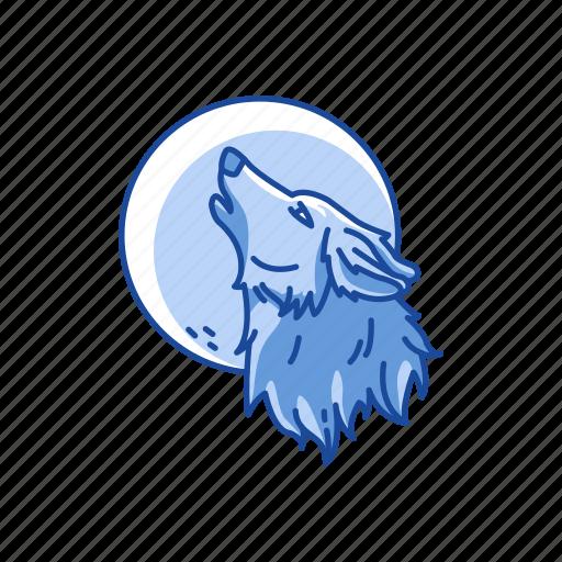 full moon, halloween, midnight, werewolf, wolf icon