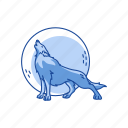 full moon, halloween, howling, midnight, wolf icon