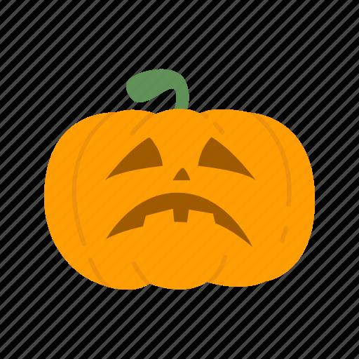 carved pumpkin, halloween, pumpkin, sad pumpkin icon