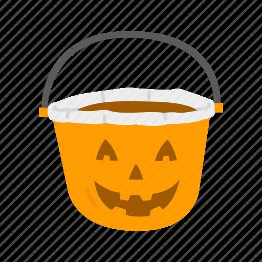 halloween, halloween basket, pumpkin basket, trick or treat icon