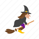 broom, halloween, witch, witch's broom icon