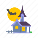 bat, halloween, haunted, haunted house, house icon