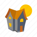 halloween, haunted, haunted house, house, moon icon