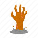 buried alive, halloween, hand, zombie icon