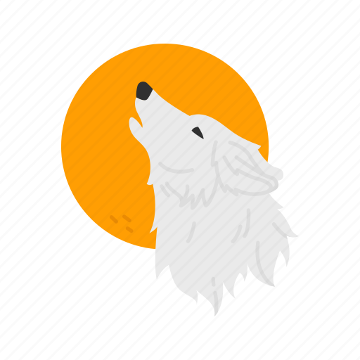 full moon, halloween, howling, werewolf, wolf icon