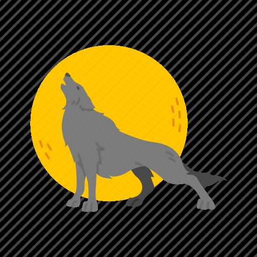 full moon, halloween, howling, werewolf, wolf icon
