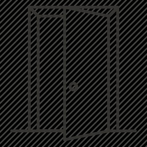door, doorway, exit, inside, open, sign icon