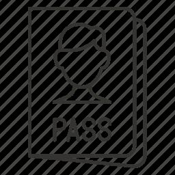 id, pass, passport, travel, visa icon