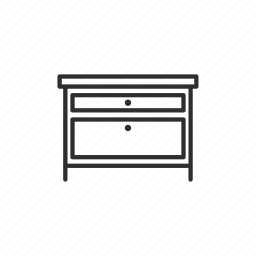 appliance, drawer, furniture, home, outline, storage icon