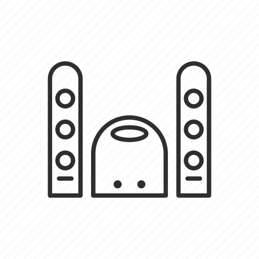 appliance, home, microphone, outline, sound, speaker, subwoofer icon