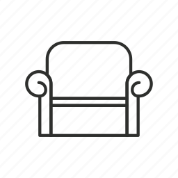 appliance, chair, furniture, home, outline, recliner, sofa icon