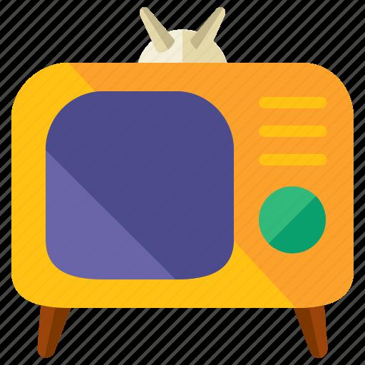 appliance, entertainment, home, retro, television, tv icon