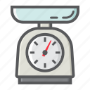 appliance, balance, household, kilogram, kitchen, scale, weigh icon