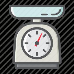 appliance, balance, household, kilogram, kitchen, scale, weigh icon